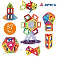 AUGYMER Magnetic Building Blocks Set 87 Pcs Magnetic Construction Stacking Toys for Children Kids with Carry Box Letters and Numbers Toys - B072JWFJ6L