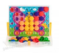 Button Mosaic Transperent Pegboard with 48 Buttons and 12 full colored pictures - B007XNLGQY
