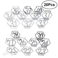BESTOYARD 21-40 Table Numbers Holders Wedding Table Numbers Wood Ornements Hexagon Signs Wooden Rustic Number Table Seat Decors(Silver) - B07FN4Q1ZX