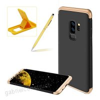 3 in 1 Hard Case for Samsung Galaxy S9 Plus Gold Black Heavy Duty PC Back Cover for Samsung Galaxy S9 Plus Herzzer Stylish Ultra Thin Anti-Scratch Armour Defender Shockproof PC Case - B07CNTM7ST