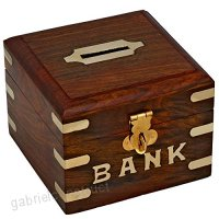 Safe Money Box Wooden Piggy Bank For Boys Girls And Adults - B00ESE9R3U