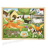 Melissa & Doug Pets at Play Wooden Jigsaw Puzzle With Storage Tray (24 pcs) - B00HWHNQ8W
