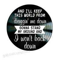 2018 Super Cool I Won't Back Down Song Lyrics by Tom Petty on a Vinyl Record Album Wall Art -Modern Interoir Design Decroation with Hollow Song Lyrics CD- Best Gift for Friend Kids Christmas - B07DJ3Y2N9