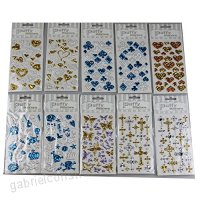 3 Sheets 3D novelty metal shape Decorative Adhesive Sticker Tape / Kids Craft Scrapbooking Sticker Set for Diary Album- SKULL / CROSS/ STAR / BUTTERFLY / HEART pattern series - B01E0WER7U