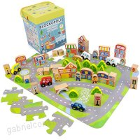 Blockopolis Little Wooden People City Play Set 100-piece Building Blocks & Jumbo Floor Jigsaw Puzzle by Imagination Generation - B076DLGBKQ